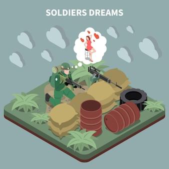 Soldati sogna composizione isometrica con cecchino seduto in trincea e ricordando la sua ragazza