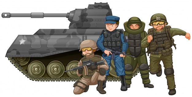 Soldiers and fighting tank