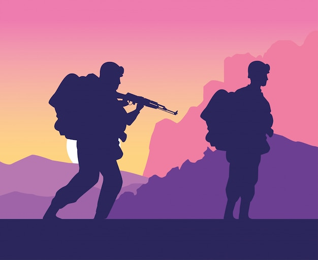 군인은 일몰 장면 그림에서 실루엣 인물
