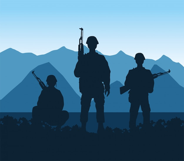 Soldiers figures silhouettes in the camp scene vector illustration design