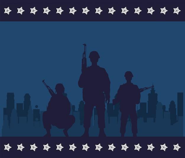 兵士は都市景観シーンでシルエットを数字します。