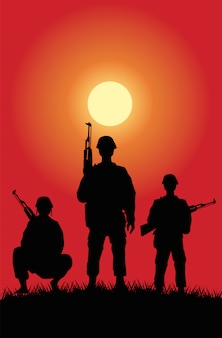 Soldiers figures silhouettes at sunset scene