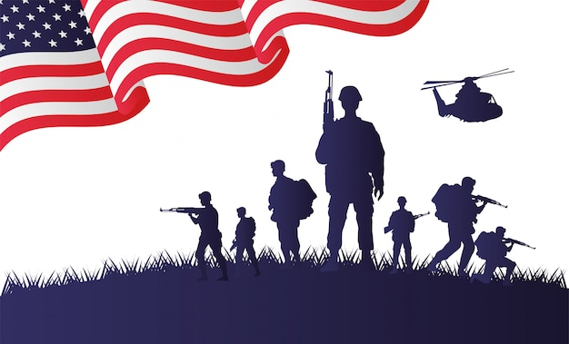 Soldiers and helicopter figures silhouettes in usa flag