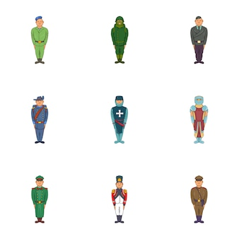 Soldiers icons set, cartoon style