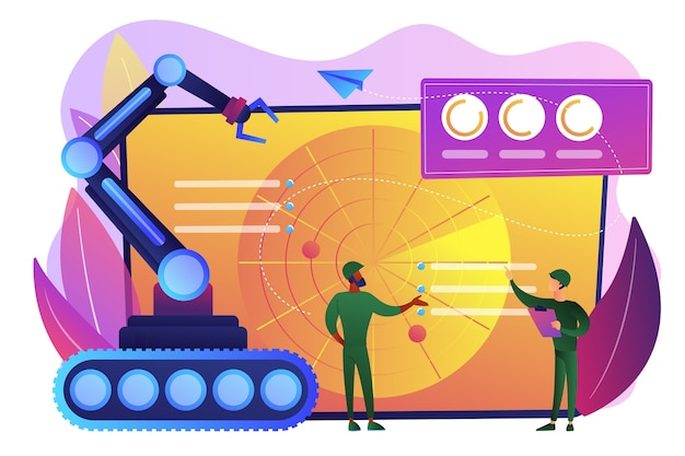 Soldiers at radar planning to use robot for military actions. military robotics, automated army machinery, military robot technologies concept. bright vibrant violet  isolated illustration