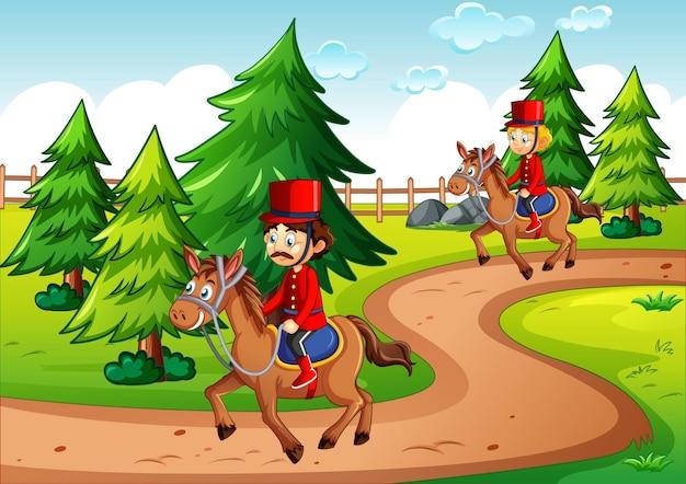 公園のシーンで馬に乗る兵士