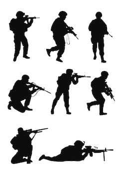 Soldiers silhouettes on white background