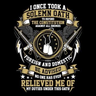 Solemn oath, illustration american veteran themes design