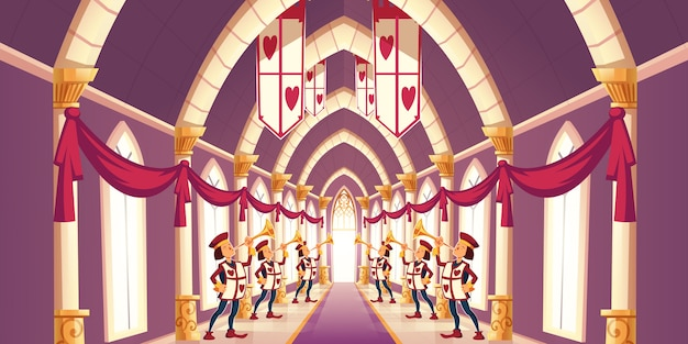Solemn trumpeters playing march cartoon illustration