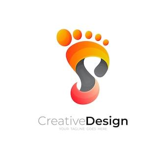 足の裏のアイコン、文字 s ロゴ