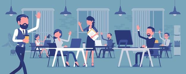Сплоченная и высокопроизводительная команда в офисе. группа людей, эффективно работающих вместе для общей бизнес-цели, добивающихся хороших результатов, сотрудников и руководителей. векторная иллюстрация, безликие персонажи