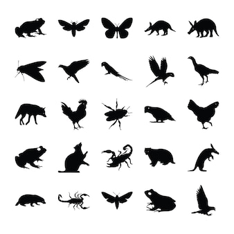 Solid pictograms of animals