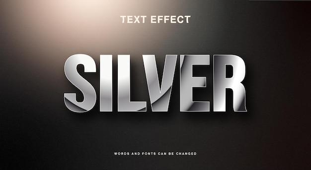 Редактируемый текстовый эффект сплошного серебра