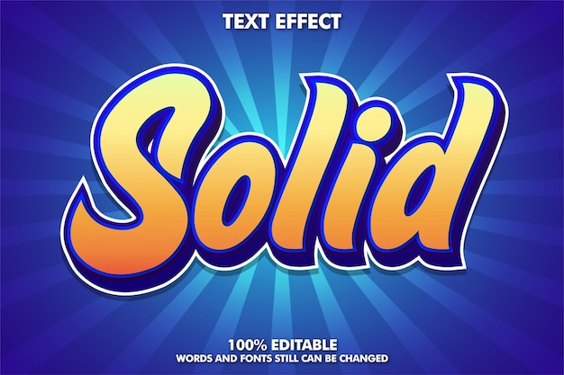 Solid text, editable text effect