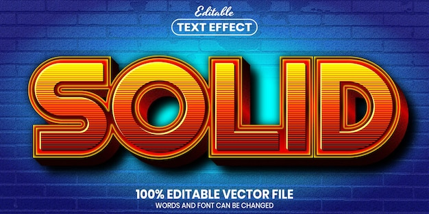 Solid text, font style editable text effect