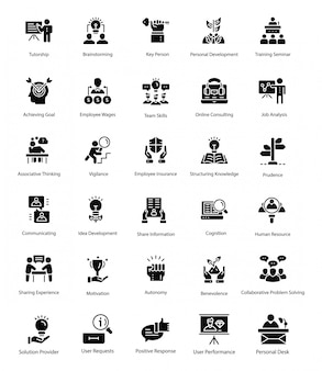 Solid vector icons of human resource