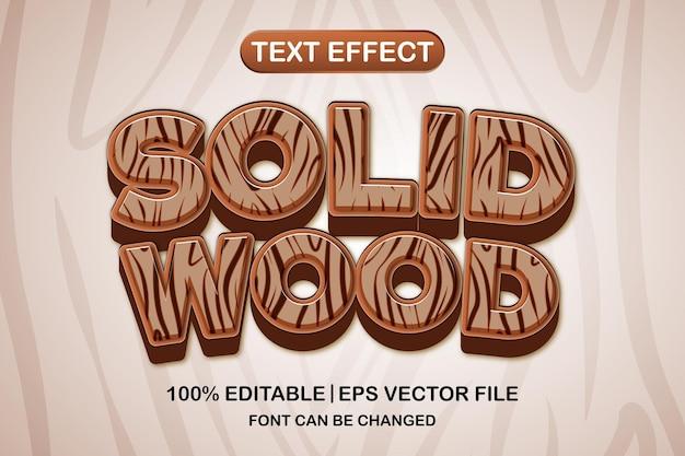 단단한 나무 3d 편집 가능한 텍스트 효과