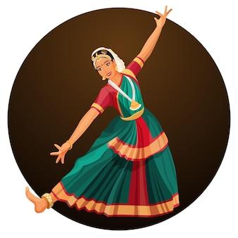 힌디어 액세서리가 달린 실크 드레스를 입은 소녀의 솔로 댄스. bharatanatyam 여자 댄서 벡터 일러스트 절연입니다. 인도의 고전무용은 힌두교 사원에서 유래했다.