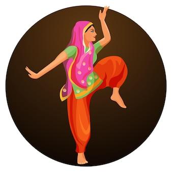 실크 셔츠와 머리를 덮은 바지를 입은 소녀의 솔로 댄스. bharatanatyam 여자 댄서 벡터 일러스트 절연입니다. 인도의 고전무용은 힌두교 사원에서 유래했다.