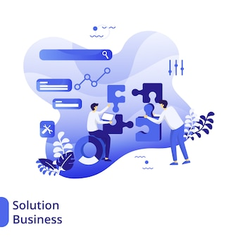 Solution business flat illustration, the concept of men are discussing in front of puzzles