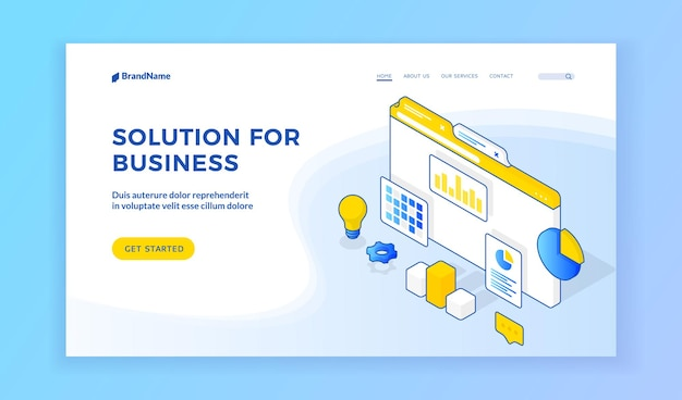 Solution for business. vector isometric illustration of website page advertising various creative solutions for successful business. isometric web banner, landing page template
