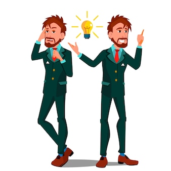 Solution concept, man talking on the phone pointing a light bulb