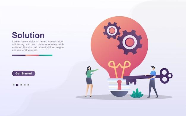 ソリューションのコンセプト。男性と女性はビジネスのためのソリューションを持っています。問題を解決するために協力する。ビジネスのアイデアを見つけます。 webランディングページ、バナー、チラシ、モバイルアプリに使用できます。
