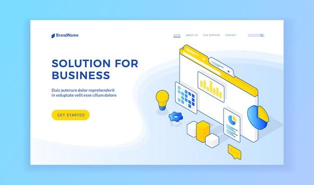 Решение для бизнеса. векторная изометрическая иллюстрация страницы веб-сайта, рекламирующей различные творческие решения для успешного бизнеса. изометрический веб-баннер, шаблон целевой страницы