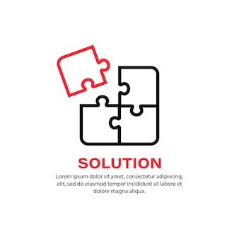 ソリューションアイコン。パズル。商売の概念。孤立した白い背景の上のベクトル。 eps10。