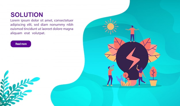 Solution illustration concept with character. landing page template