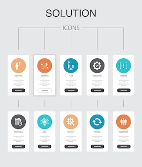 Solution  infographic 10 steps ui design.strategy, plan, execution, timetable simple icons