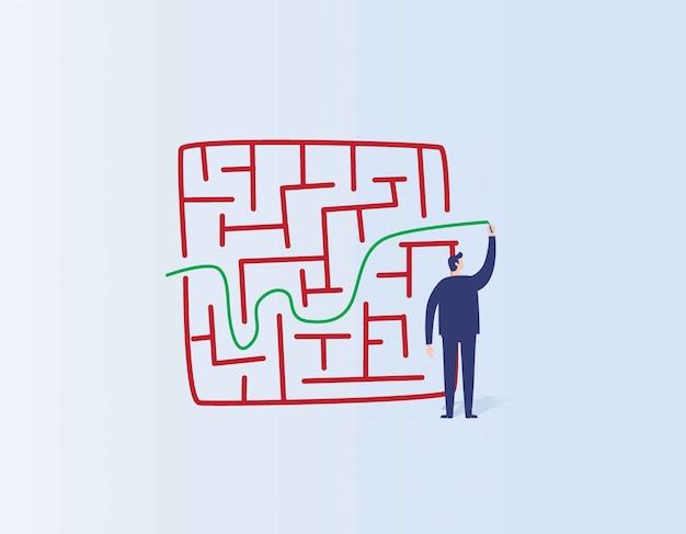 Solution and success business concept businessman drawing line through maze or labyrinth.