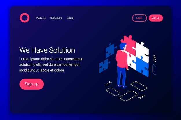 Solutions isometric concept. man collects a puzzle. strategy, success design. flat 3d style. landing page template. illustration.