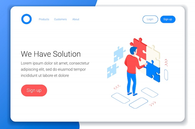 Solutions isometric concept. man collects a puzzle. strategy, success design. flat 3d style. landing page template. white background. illustration.