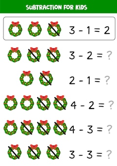 Solve all equations and write down the right answer. subtraction of christmas wreaths.