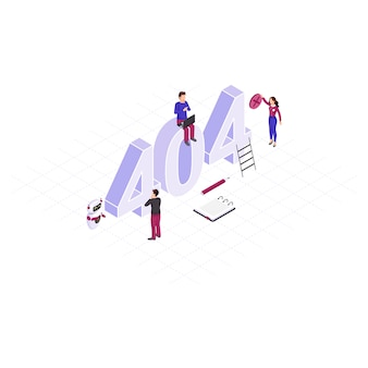 Solving 404 problem concept isometric illustration. tiny it specialists repairing disconnected, server. robot, ai assistant  helping to fix technical malfunctions. automated network mistakes detection