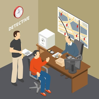 Solving crime investigator collecting information talking to witness in law enforcement agency detectives office isometric