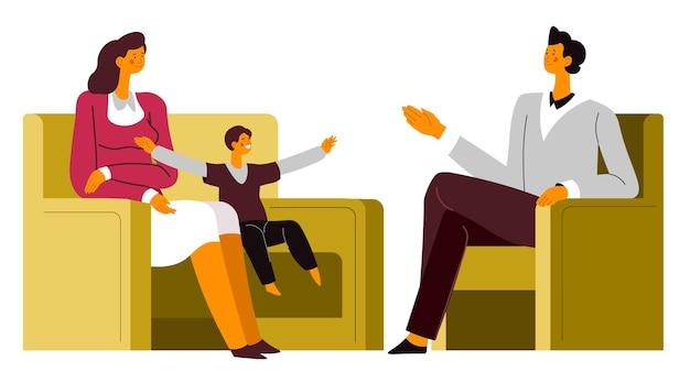 심리학자 상담 시 문제 해결, 심리 치료 전문가 치료 시 가족. 행동, 상담 및 정신 건강 벡터를 설명하는 정신과 의사와 이야기하는 아이와 엄마