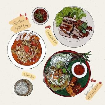 ソムタム、パパイヤサラダ、その他のセット。手描きスケッチベクトル。タイ料理。