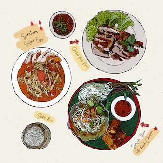 Som tum, papaya salad and other set. hand draw sketch vector. thai food.
