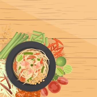 Som tum ,thai green papaya salad, with ingredients