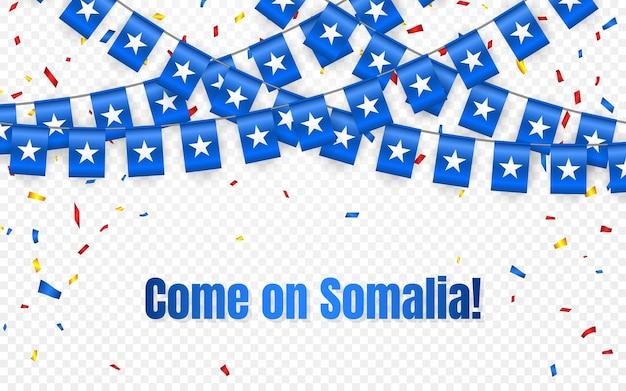 透明な背景に紙吹雪とソマリアの花輪の旗、お祝いテンプレートバナーの旗布を掛ける、