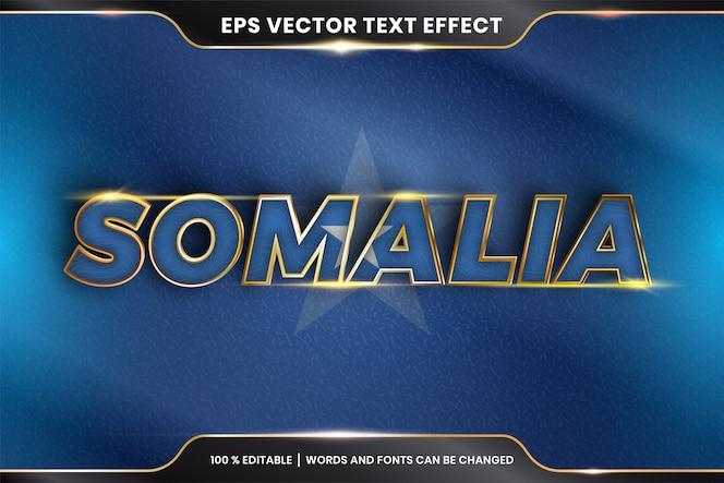 Somalia con la sua bandiera nazionale, effetto di testo modificabile con stile color oro