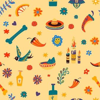 ソンブレロと飛んでいる鳥、骨、唐辛子のシームレスなパターン。伝統的なメキシコのシンボルと文化的なアイコン。ライムまたはレモン、テキーラ、燃えるろうそくや花のスライス、フラットスタイルのベクトル
