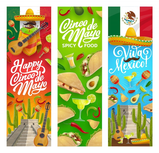 Sombrero, guitar, food and drink. cinco de mayo Premium Vector