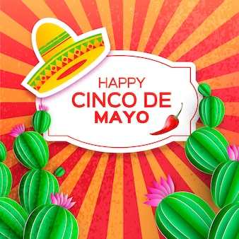 Sombrero hat, cactus in paper cut style. pink flowers. chili pepper. happy cinco de mayo greeting card.