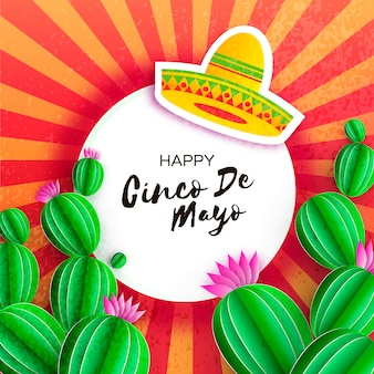 Sombrero hat, cactus in paper cut style. pink flowers. happy cinco de mayo greeting card.
