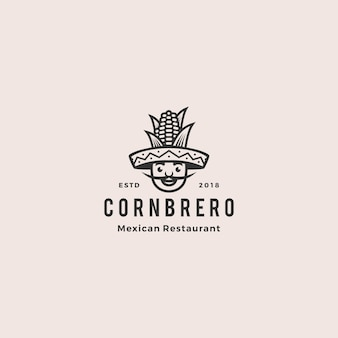 Sombrero hat corn mexican restaurant logo