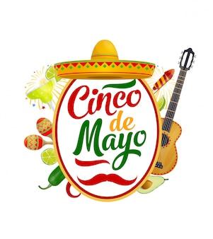 Sombrero, maracas, guitar. mexican cinco de mayo