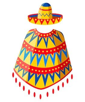 Мексиканская шляпа сомбреро и силуэт человека пончо. украшенный старинный символ партии. иллюстрация на белом фоне. страница веб-сайта и мобильное приложение.